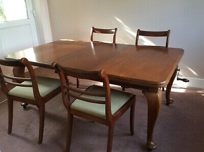 Original Victorian Antique Mahogany Wind Out Extendable Table with Cabriole Legs