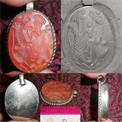 Beautiful Old Agate stone king & Horse intaglio Charming Pendant     # 32
