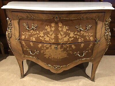 Louis XV Antique Style Kingwood Marquetry Bombe Commode Chest With Marble Top