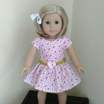 PARTY DOLL DRESS FITS 18 inch AMERICAN GIRL DOLL ~ Roses, gold ribbon    ~  5390