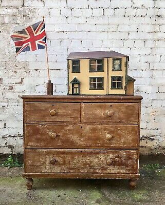 Charming Antique Victorian Scumbled Pine Chest Of Drawers Country House