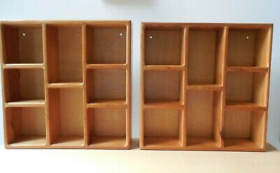 Two Vtg. Pine Wood, Wall Mount/ Free Standing, Small, Open Curio Display Shelves
