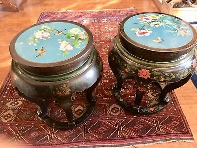 Pair Of Chinese Cloisonne Black Lacquered Stools/ Tables