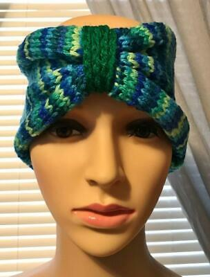 Hand-Knitted Multicolored Headband and Fingerless Mittens - Blue/Green - NEW!