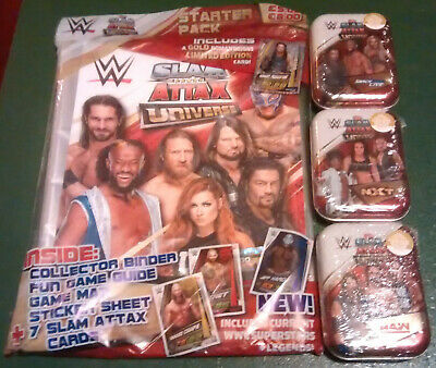 Topps WWE Slam Attax Universe Starter Pack And Set 3 Mini Tins New Sealed Lot 1