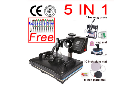 Gift Double Display sublimation 5 in 1 Combo Thermal Heat Press Machine printer