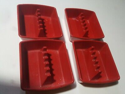 "Lot of 4 Vintage Ges-Line Melmac Square 4"" Ashtray Red Mid Century Modern USA"