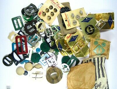 Large Lot of Vintage Buttons and Buckles