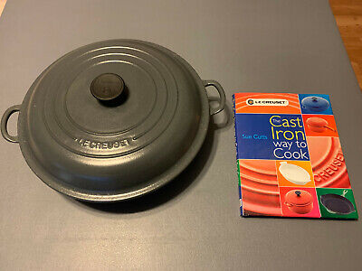 Le Creuset 5 Qt. Gray Enameled Cast Iron Braiser with Bonus Book