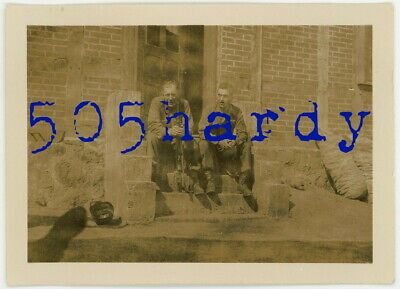 WWII US GI Photo - 333rd Infantry Regiment GIs Outside Quarters w/ M1 Carbine