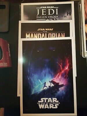 Disney Store Star Wars Triple Force Friday Lithograph Set of 3 Rise of Skywalker