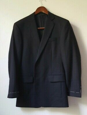 New Brooks Brothers Men's Navy Blue Solid Wool Suit 38R 30W pants unhemmed