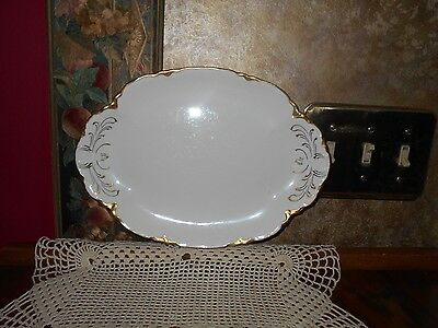 Antique Warwick China Chateau Oval Serving Platter Plate White Gold Trim WOW