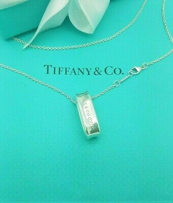 Tiffany & Co 1837 Sterling Silver Oval Loop Pendant 18 Inches chain Necklace