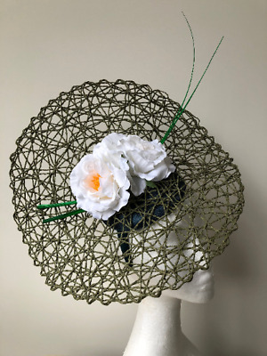 New Green basket weave fascinator with white flowers and green barb quills!
