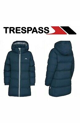 Trespass Tiffy Waterproof Down Jacket Girls 5-7 Navy Tone Sports Outdoors New(F)