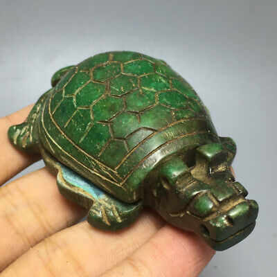 94g Old Chinese natural green jade hand-carved tortoise pendant NO 16