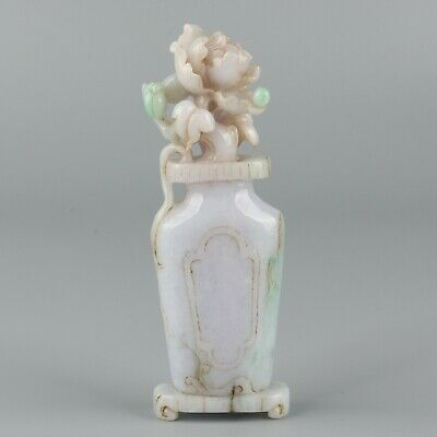 Chinese Exquisite Hand carved flower Carving jadeite jade statue