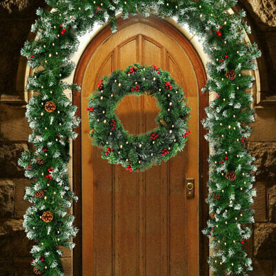 Christmas Garland XMAS Rattan Tree Ring Fireplace Wall Decoration with Lights