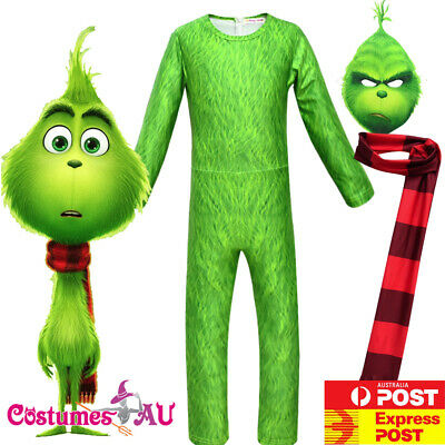 Kids The Grinch Costume Boys Santa Christmas Green Child Book Week Jumpsuit