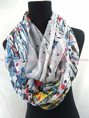 US SELLER-Discount Infinity Scarves abstract flower infinity scarf