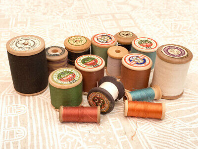15 Vintage Cotton Reels Wooden Sylko Coats Craft Sewing Thread inc 2 Large Reels