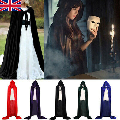 Halloween & Christmas Hooded Cloak Robe Medieval Witchcraft Cape Robe Costume T