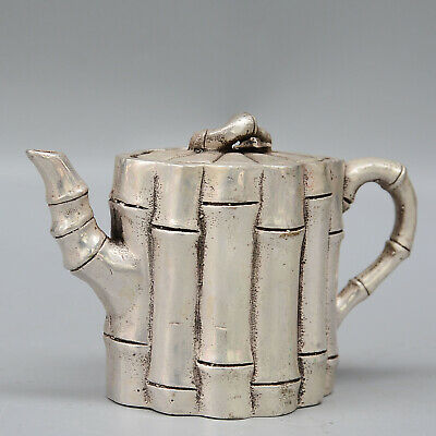 Collectable China Old Miao Silver Hand-Carved Delicate Noble Bamboo Tube Tea Pot