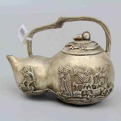Collect China Old Miao Silver Hand-Carved Myth Figure Delicate Cucurbit Tea Pot