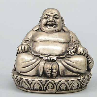 Collect China Old Miao Silver Hand-Carve Happy Maitreya Buddha Auspicious Statue