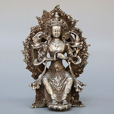 Collectable Cina Old Miao Silver Hand-Carved Buddhism Kwan-yin Exorcism Statue