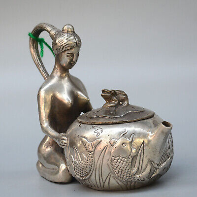 Collectable Antique Miao Silver Hand-Carved Naked Beauty & Fish Delicate Tea Pot