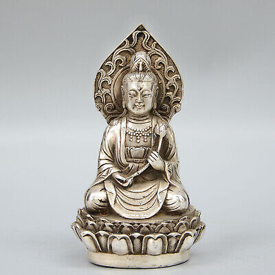 Collection China Old Miao Silver Carve Kwan-yin Handheld Lotus Auspicious Statue