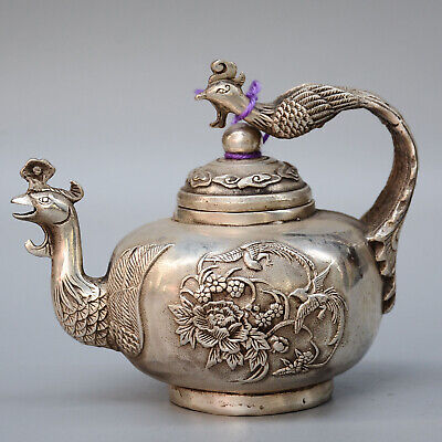 Collection China Old Miao Silver Hand-Carved Double Phenix & Flower Noble Teapot