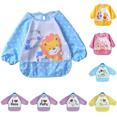 Child Sleeved Bib Waterproof Long Sleeves Baby Feeding Painting Playing Apron