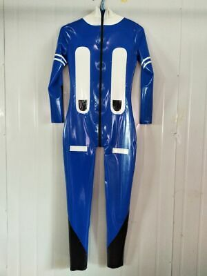 100% Latex Rubber Blau&Weiß Cosplay Cool Bodysuit Ganzanzug Zipper Catsuit S-XXL