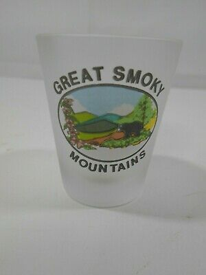 Shot Glass Single Souvenir Great Smoky Mountains Tenn Frosted Collectible GUC