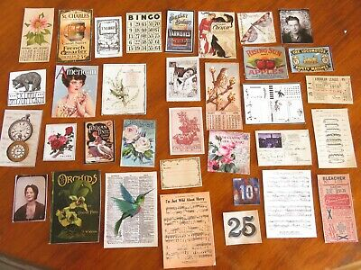 "34 punchies dies"" vintage ephemera  journals altered art, diary mixed media pk13"