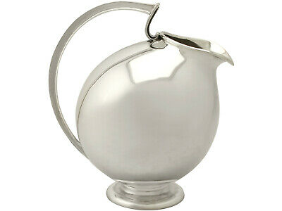 Vintage Continental Sterling Silver Water Jug, Design Style, Circa 1960