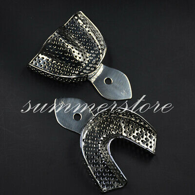 2 Pcs Middle Dental Stainless Steel Impression Perforated Trays Upper+Lower/Set