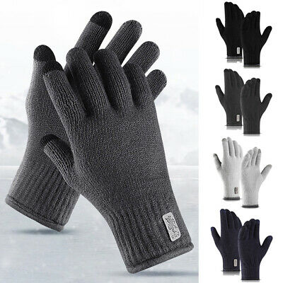 Touch Screen Gloves Mens Winter Warm Windproof Knitting Anti-slip Thermal Mitten