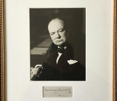 Photograph of Winston Churchill. Signed by him below the photograph.