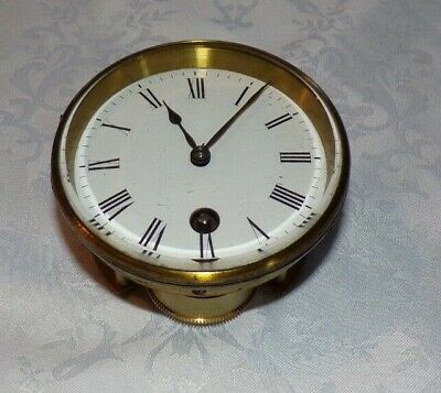 Antique Enamel Mantel Clock Face & Bezel With Part Movement
