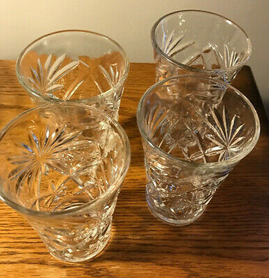 Vintage Anchor Hocking Prescut Clear 8 Oz Oatmeal Tumbler Drinking Glasses-Set/4