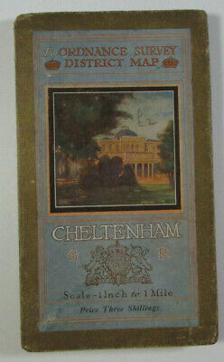 1922 Old Vintage OS Ordnance Survey One-Inch Tourist Map Cheltenham & District