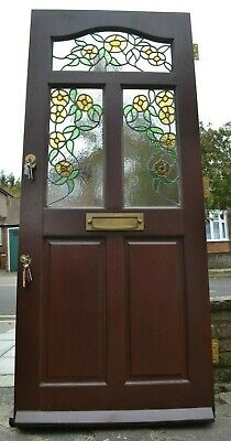 843 x 1960mm. Leaded light stained glass front door with keys. R839.