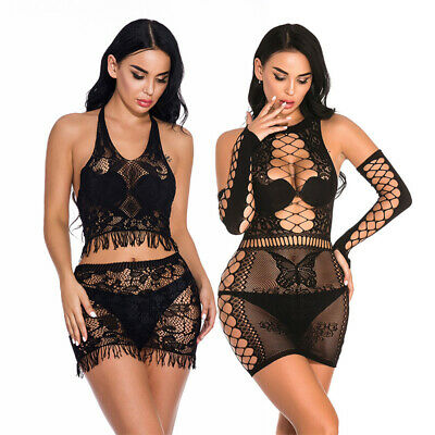 Plus Size Women Sexy Lingerie Mini Dress Bodystockings Nightwear Sleepwear Set