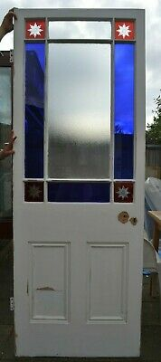 Internal/vestibule door. Leaded light stained cut glass possibly victorian. R942
