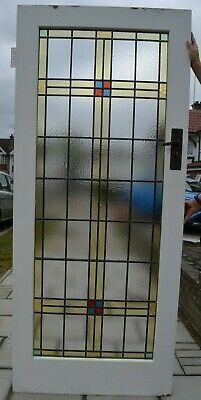 Internal/vestibule door. Leaded light stained glass art deco. R980