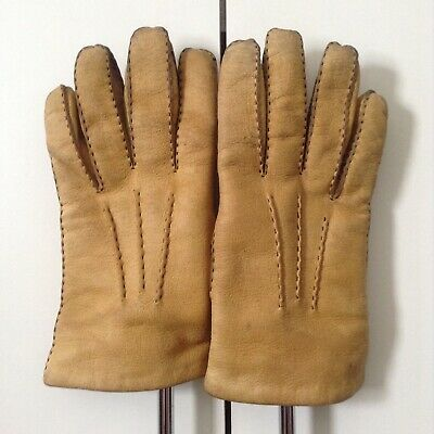 Vintage Fownes Mens 'Dingo' Sheepskin Yellow Tan Soft Leather Gloves 4.5 x 10 ''